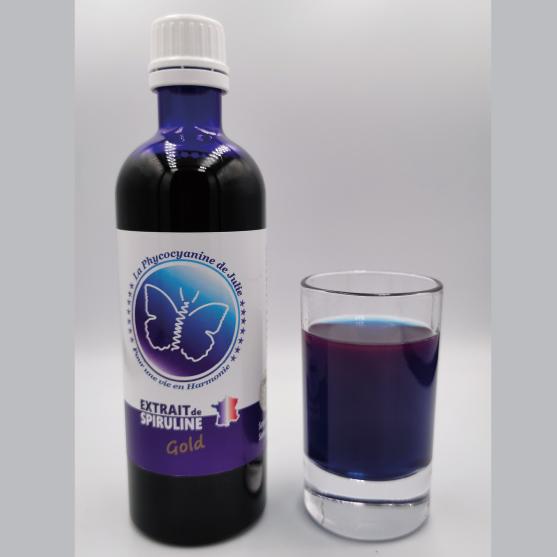 GOLD Phycocyanine de Julie Extrait de la Spiruline de Julie verre bleu